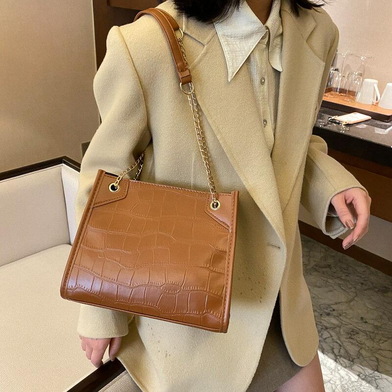 上新洋氣女士包包2021新款潮時尚鏈條質感斜挎包簡約單肩托特包