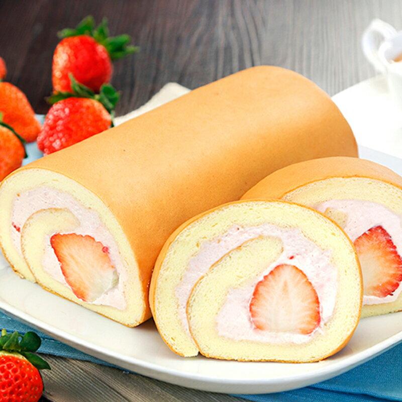 【喜之坊】草莓鮮乳捲1條~草莓季上市★台灣心 法國情~