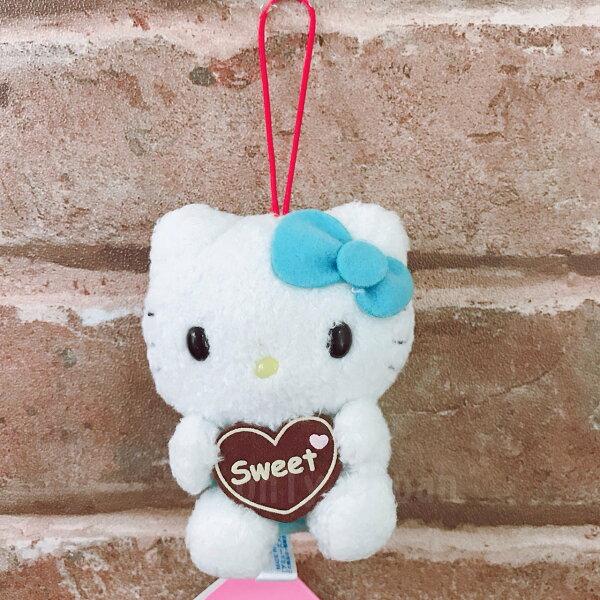【真愛日本】14021300020抱愛心絨毛娃吊飾-藍三麗鷗凱蒂貓KITTY絨毛吊飾吊飾鑰匙圈收藏擺設