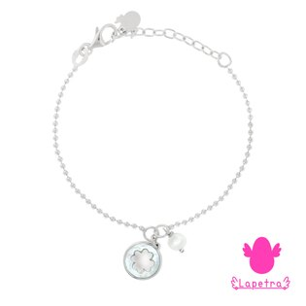 西班牙【LaPetra】925純銀Seashell浮雕幸運草手鍊