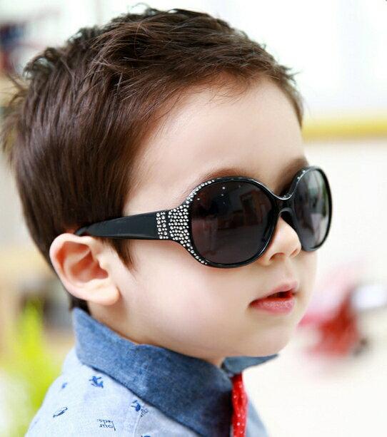 Kocotree◆閃亮晶鑽時尚兒童防紫外線護目太陽眼鏡-黑色