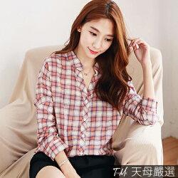 【天母嚴選】自訂款‧經典格紋長袖棉麻衫(共二色)