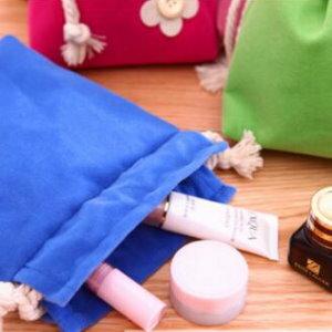 美麗大街【BF324E2】柔軟雙層糖果色布藝鈕扣花朵束口收納袋