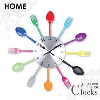 HOME+ 彩色DIY 餐具時鐘 刀叉 湯匙 掛鐘 壁鐘 鐵藝鐘 工業風 鄉村風 設計 家居 裝潢 布置 裝飾 Clock
