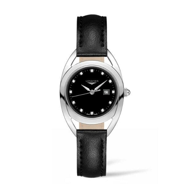 LONGINES L61374570騎士系列時尚真鑽腕錶/黑面30mm