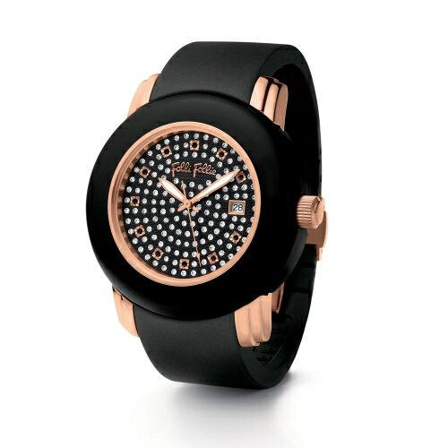 Folli Follie 耀眼奪目時尚晶鑽陶瓷腕錶/黑/WF9R001ZPK