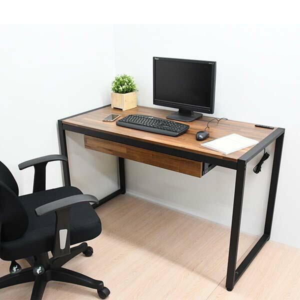 電腦桌 辦公桌 書桌 充電插座 拼木工業風單抽128CM書桌 MIT台灣製|喬艾森