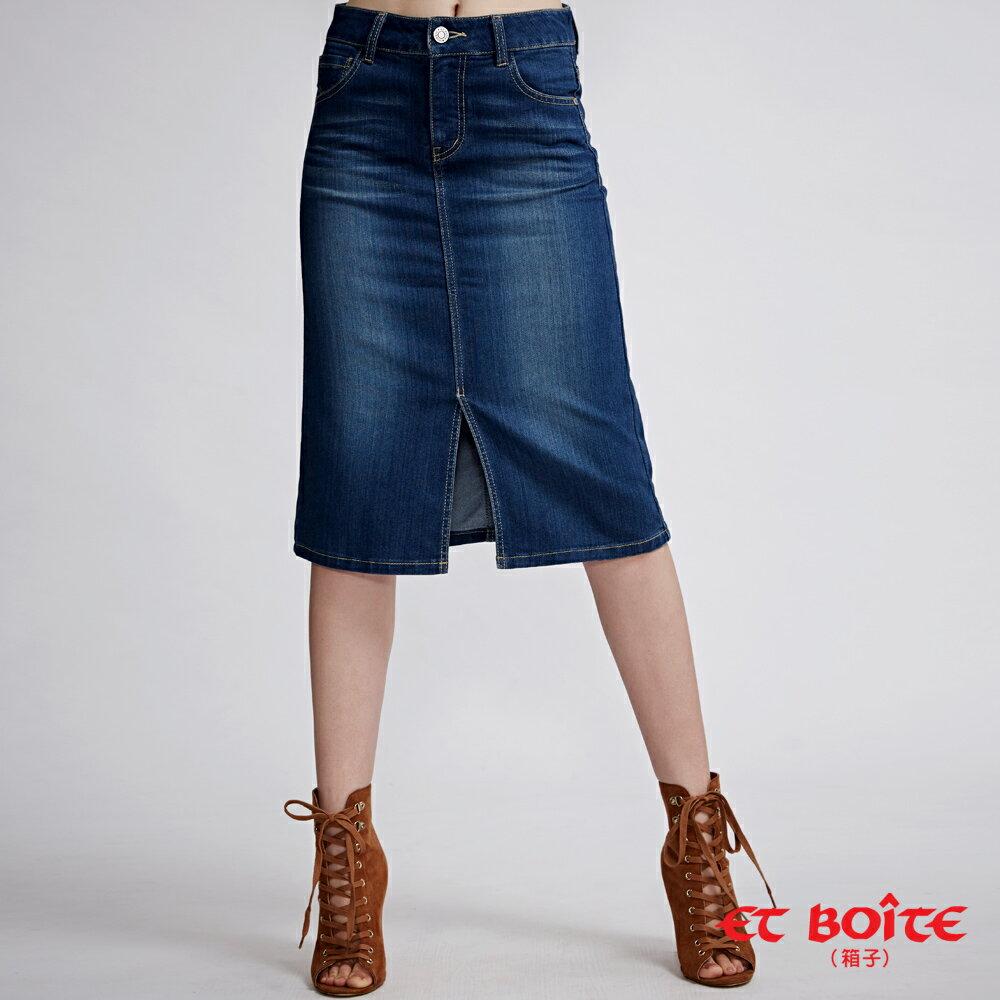 【春夏新品】經典及膝開叉丹寧短裙 - BLUE WAY  ET BOiTE 箱子 0