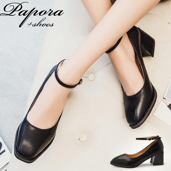 跟鞋‧優雅百搭方頭踝扣跟鞋包鞋【KN308】黑色