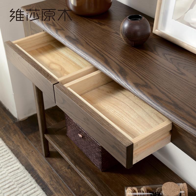 日式純實木邊桌門廳柜黑胡桃色橡木玄關桌簡約現代玄關臺♠極有家♠