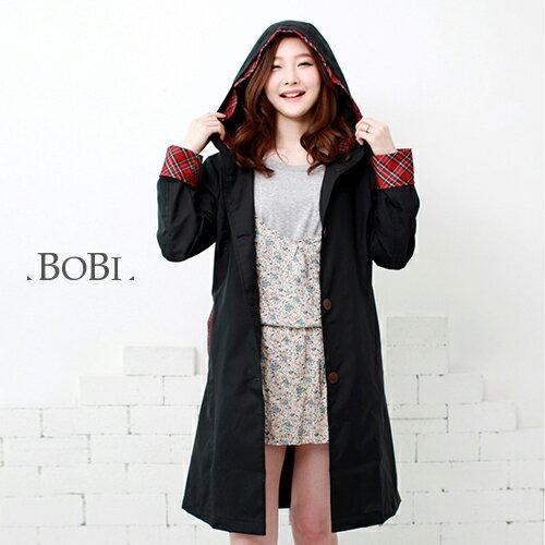 雨衣 格紋防水雨衣/風衣外套【EL1006】 BOBI  04/07 - 限時優惠好康折扣