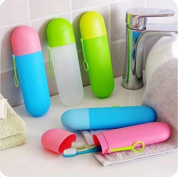 ♚MY COLOR♚便攜可懸掛牙刷收納盒 牙具 收納套 洗漱用品 收納管 出差 旅行 防水 牙膏 【L59-1】