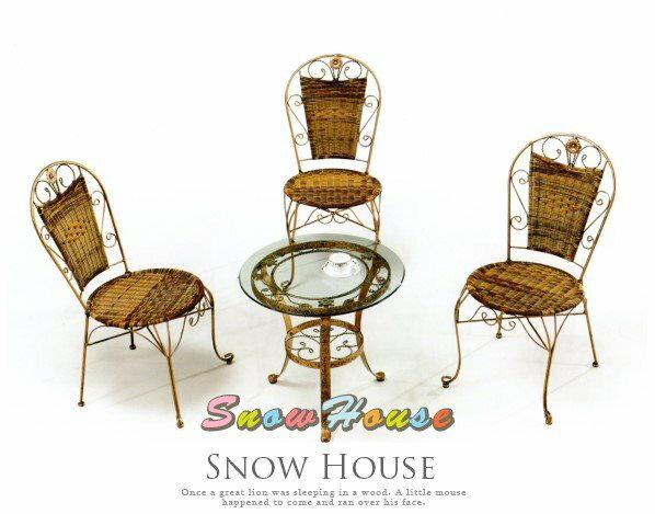 ╭☆雪之屋居家生活館☆╯@特價優惠@AA964-05 468復古鋼藤椅/戶外休閒椅/單張椅子