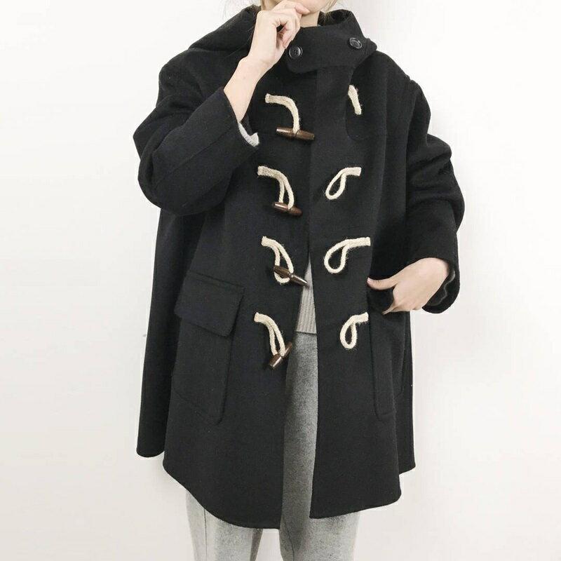 毛呢大衣羊毛外套-短版寬鬆連帽牛角扣女外套2色73wb48【獨家進口】【米蘭精品】 0