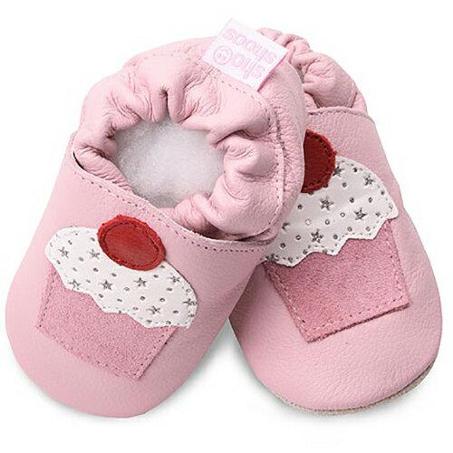 【hella 媽咪寶貝】英國 shooshoos 安全無毒真皮手工鞋/學步鞋/嬰兒鞋 淡粉/杯子蛋糕 GRY42 (公司貨)