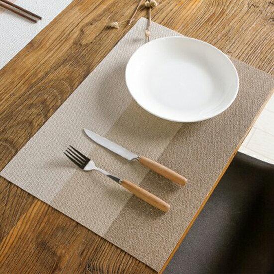 ●MYCOLOR●日式風三色拼接餐墊家用塑料防水隔熱墊西餐墊餐桌防滑墊防燙墊【N428】