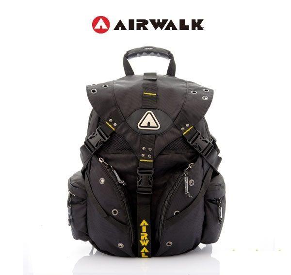 AIRWALK街頭系列-美式潮流三叉釦尼龍後背包(黃)(大容量)