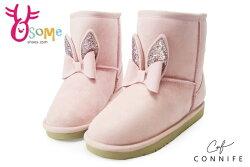 女童雪靴 真皮童靴 真兔兔球球造型 CONNIFE保暖鋪毛短筒靴M8049#粉紅◆OSOME奧森鞋業