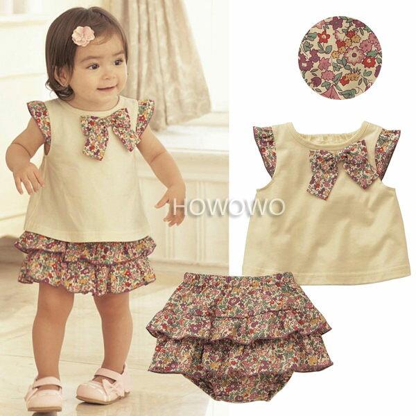 短袖套裝 ^(碎花蝴蝶結上衣 三角蛋糕裙^)二件套裝CA7615