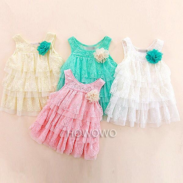 短袖洋裝 蕾絲網紗連身裙公主裙 CA0203