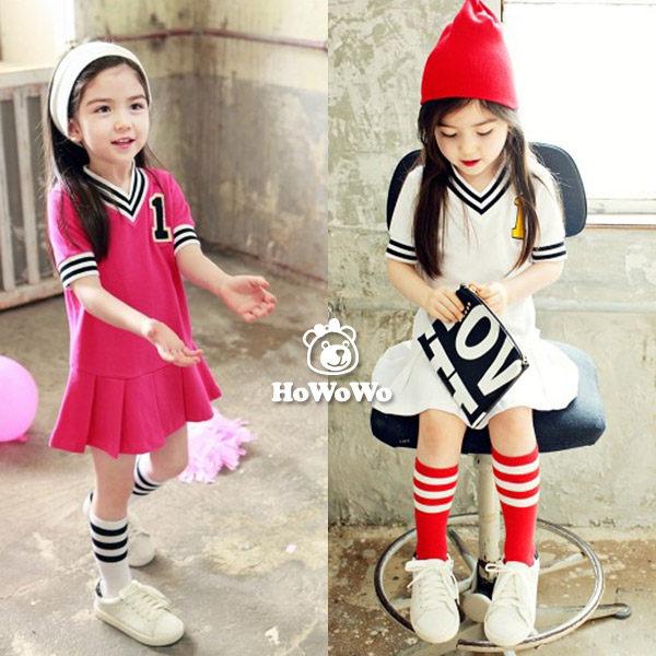 短袖洋裝 數字棒球連衣裙 短裙 HZ33107 好娃娃