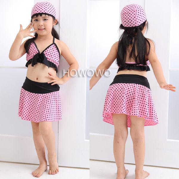 泳裝+泳帽 點點比基尼泳衣+泳褲+泳裙+ 泳帽 四件套 SE0039 好娃娃