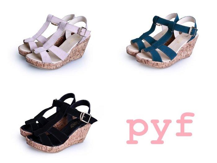 Pyf ♥ 舒適簡約 基本款T字 扣帶楔型跟 真皮涼鞋 42 43 大尺碼女鞋