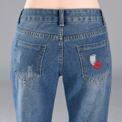 現貨!1件就免運-休閒破洞紅唇牛仔褲九分褲 2色 26-34W /  樂天時尚館。 4