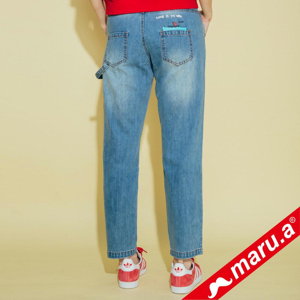 【maru.a】刷破鬍子車線裝飾後口袋小船印花牛仔長褲(2色)8325215 1