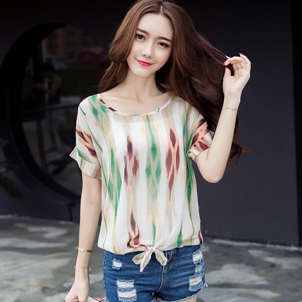 條紋襯衫衫雪紡襯衫 (3色,M~2XL)【OREAD】 3