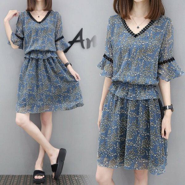 FINDSENSEG5韓國時尚喇叭袖假兩件V領雪紡小碎花連身裙女裙