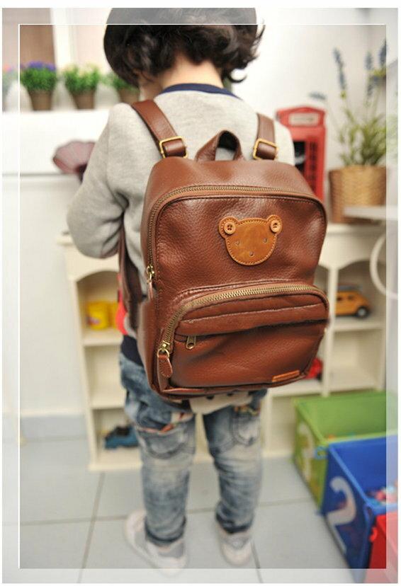 韓國正版winghouse小熊兒童書包幼稚園 書包 後背包皮革-3色/單售
