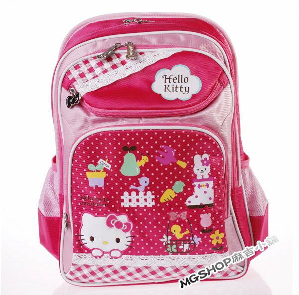 正版 Hello Kitty 凱蒂貓 小學生書包 健康護脊後背包621010-蕾絲兔子粉色花園款