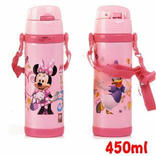 Disney 迪士尼 不鏽鋼水壺/軟管兒童水壺450ML(粉色米妮款5673)單售