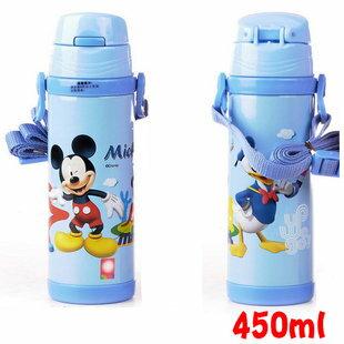 Disney 迪士尼 不鏽鋼水壺/軟管兒童水壺450ML(藍色米奇款5673)單售