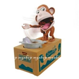 日本原裝 超人氣儲犬箱第二彈 吃錢猴子儲錢筒 儲猿箱 吃錢猿箱 存錢筒(深棕色)