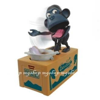 日本原裝 超人氣儲犬箱第二彈 吃錢猴子儲錢筒 儲猿箱 吃錢猿箱 存錢筒(深灰黑色)