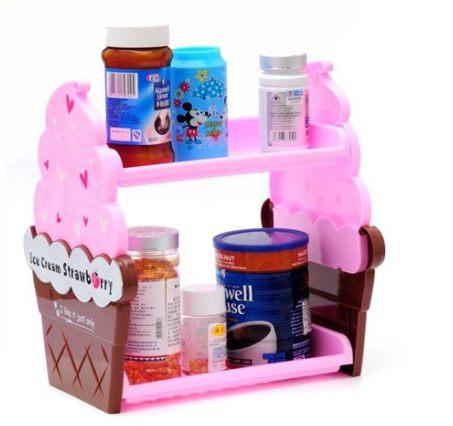 時尚冰淇淋造型雙層收納架/雜物架 隨機出貨