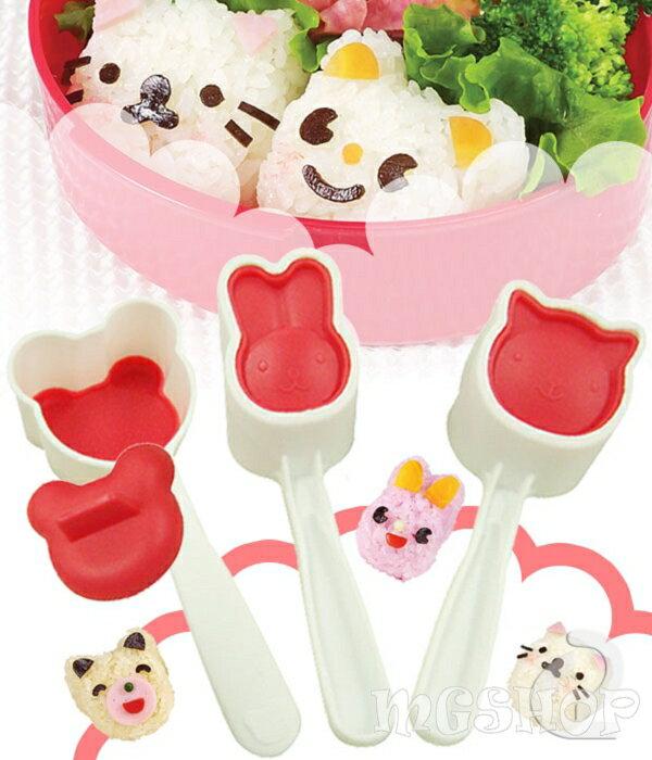日本arnest 小動物飯團模具中號3件套裝 日式可愛做壽司工具便當盒DIY