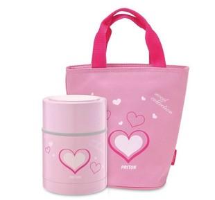 日本PASTON不鏽鋼保溫罐/悶燒罐/便當盒-粉色愛心款750ML(附提袋)
