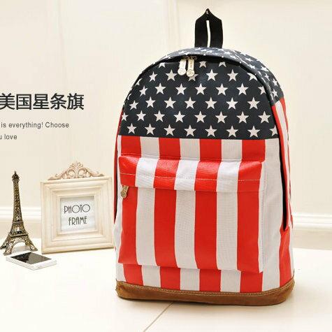 日韓新款流行時尚 後背包 書包 旅行包 英國美國國旗款L109-2色/單售