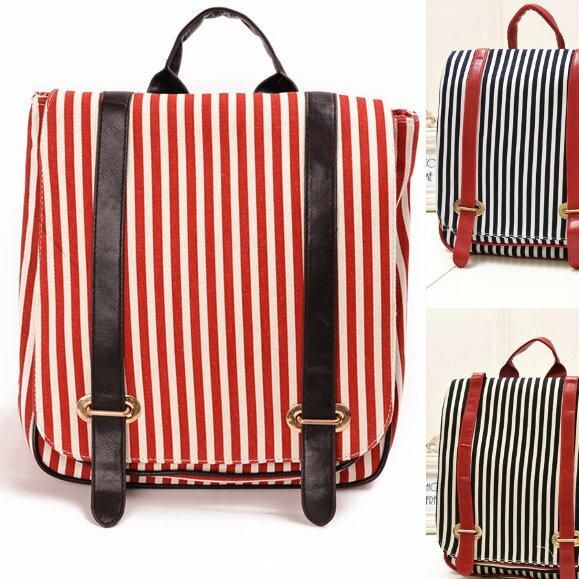 日韓新款流行時尚後背包書包旅行包直條紋款J258-2色單售
