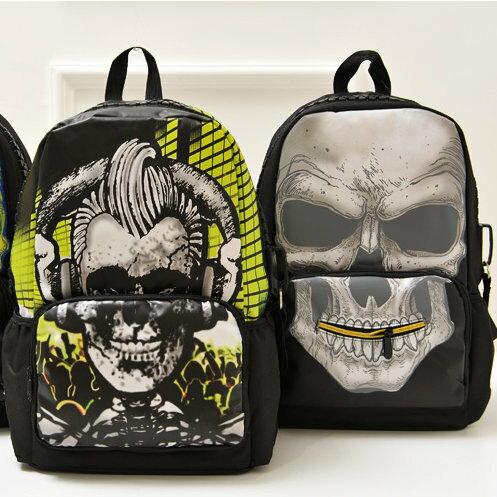 日韓新款流行時尚 後背包 書包 旅行包 骷髏潮撞色款J270-3色/單售