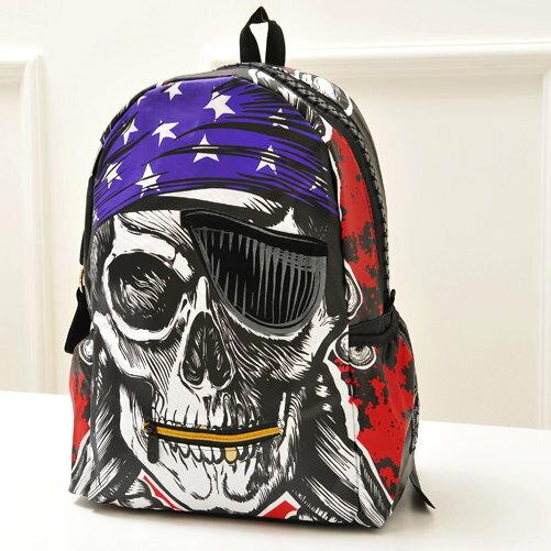 日韓新款流行時尚 後背包 書包 旅行包 J369-海盜骷髏頭/單售