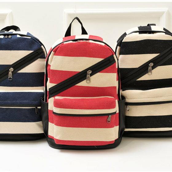 日韓新款流行時尚後背包書包旅行包寬條紋斜拉鏈款L146-3色單售