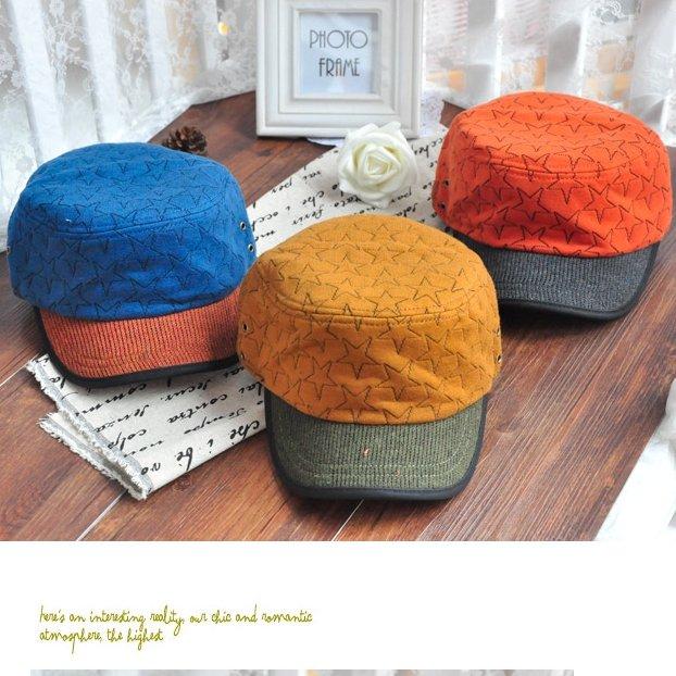 日韓秋冬 男女時尚 棒球帽軍帽平頂帽星星圖案M30-2色/單售