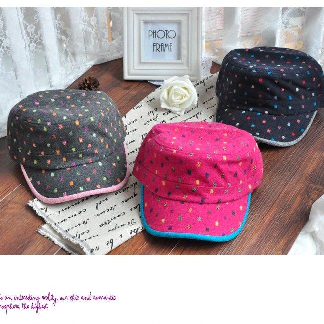 日韓秋冬 男女時尚 棒球帽軍帽平頂帽 可愛波點羊毛軍帽M30-3色/單售