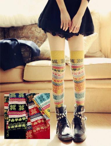 日韓系雪花針織愛心菱格大腿襪/堆堆襪/膝上襪 5色/單售