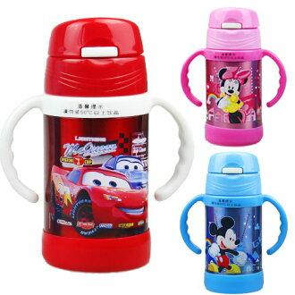 新款Disney 迪士尼 雙耳學習杯不鏽鋼真空保溫杯260ML(米妮/米奇/汽車)單售