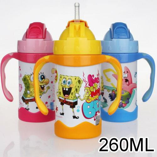 新款 嬰幼兒雙耳學習杯吸管杯不鏽鋼真空保溫杯260ML/單售